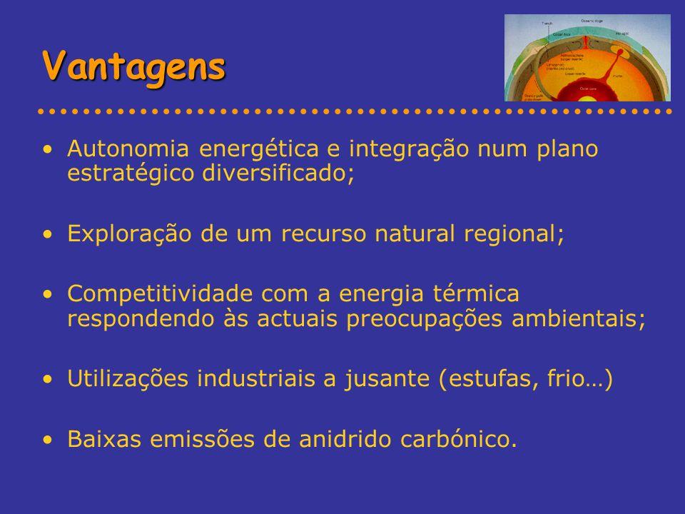 Vantagens Autonomia energética e integração num plano estratégico diversificado; Exploração de um recurso natural regional; Competitividade com a ener