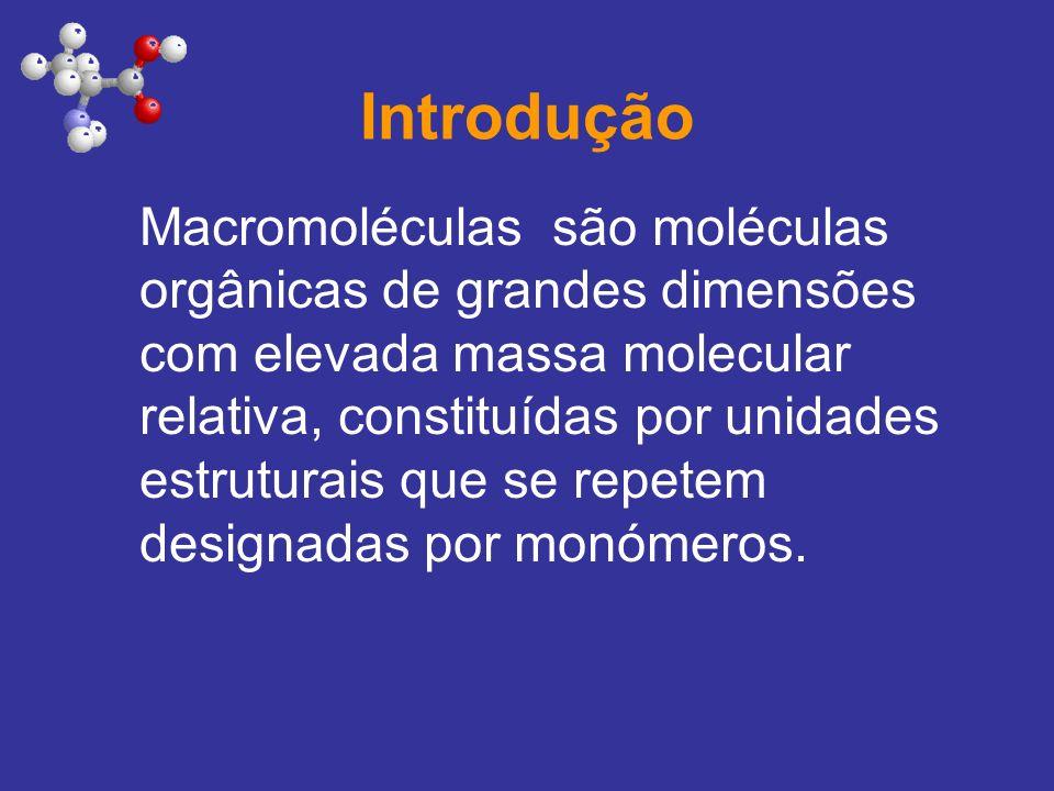 Introdução Macromoléculas são moléculas orgânicas de grandes dimensões com elevada massa molecular relativa, constituídas por unidades estruturais que