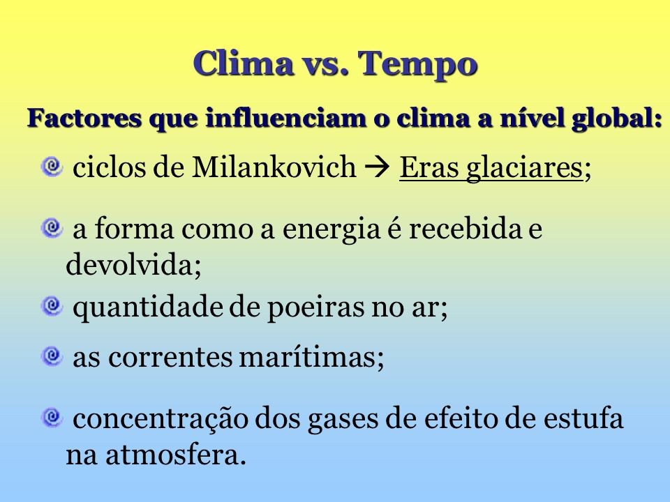 as correntes marítimas; Clima vs. Tempo Factores que influenciam o clima a nível global: Factores que influenciam o clima a nível global: ciclos de Mi