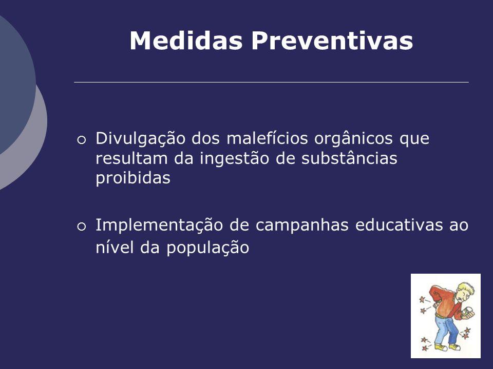 Medidas Preventivas Divulgação dos malefícios orgânicos que resultam da ingestão de substâncias proibidas Implementação de campanhas educativas ao nív