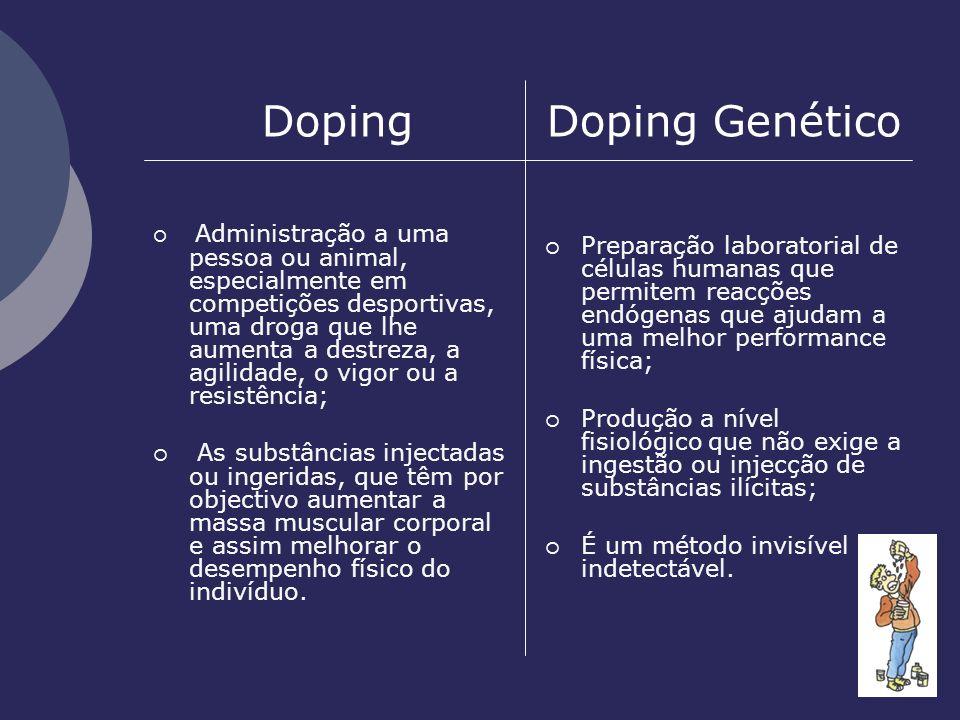 Doping Doping Genético Administração a uma pessoa ou animal, especialmente em competições desportivas, uma droga que lhe aumenta a destreza, a agilida
