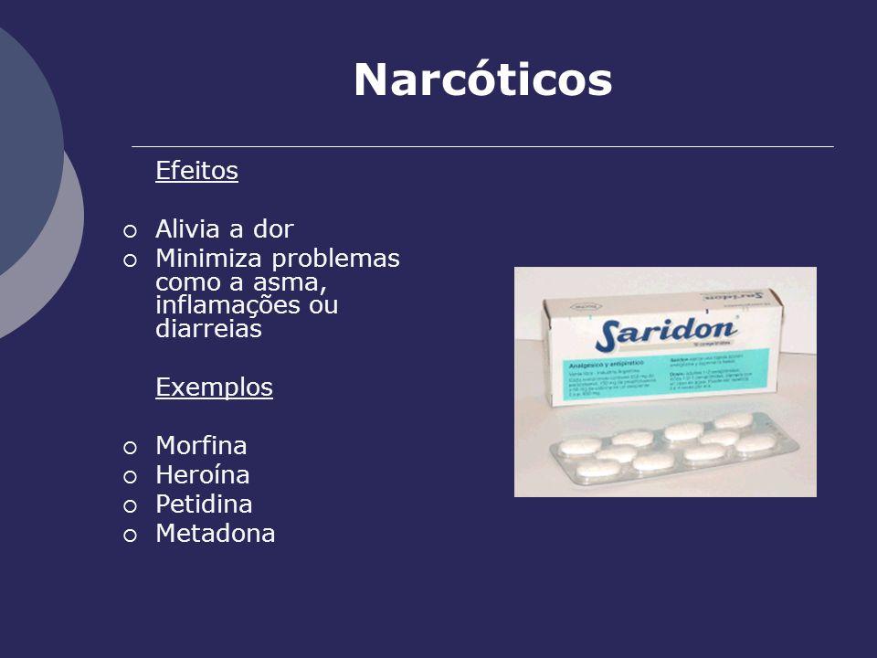Narcóticos Efeitos Alivia a dor Minimiza problemas como a asma, inflamações ou diarreias Exemplos Morfina Heroína Petidina Metadona