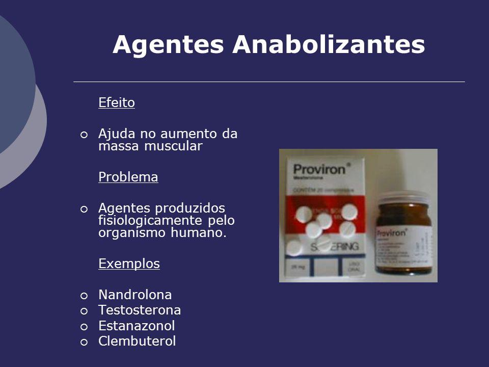 Agentes Anabolizantes Efeito Ajuda no aumento da massa muscular Problema Agentes produzidos fisiologicamente pelo organismo humano. Exemplos Nandrolon