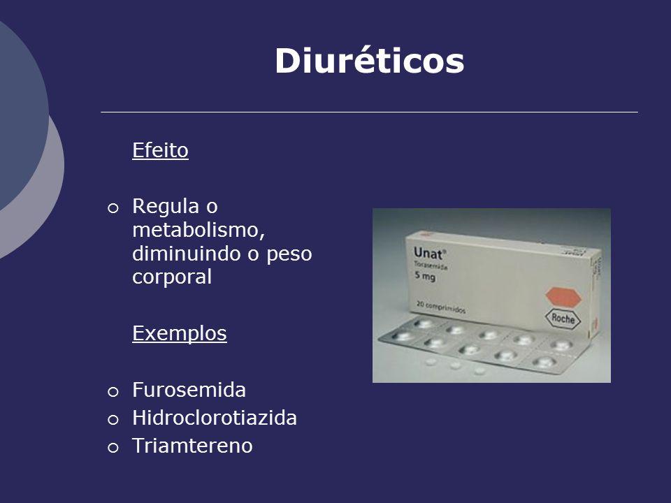 Diuréticos Efeito Regula o metabolismo, diminuindo o peso corporal Exemplos Furosemida Hidroclorotiazida Triamtereno