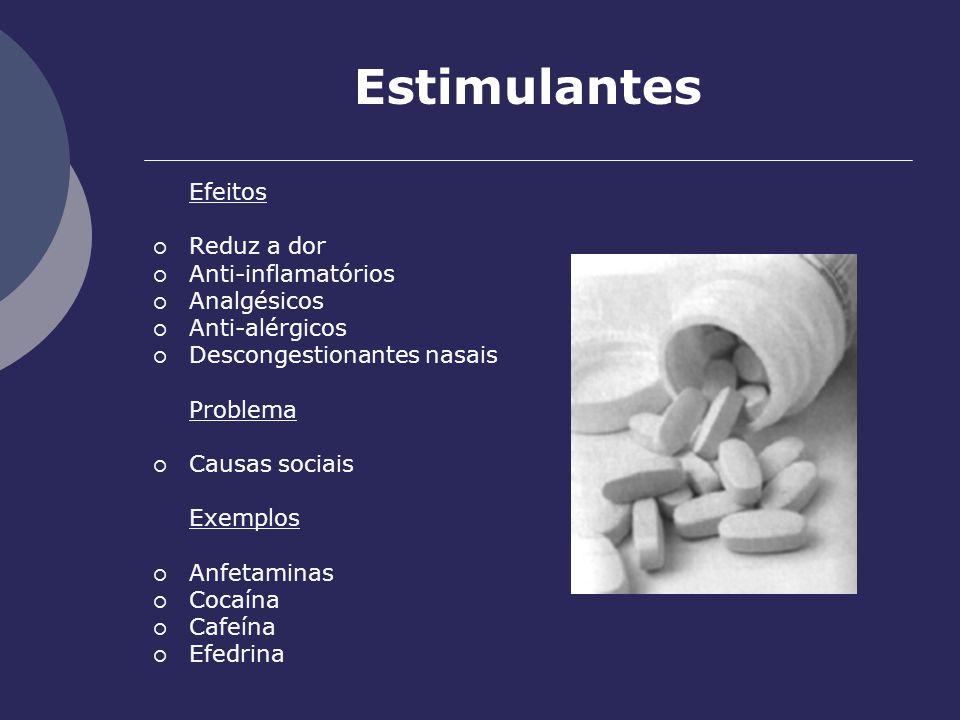 Estimulantes Efeitos Reduz a dor Anti-inflamatórios Analgésicos Anti-alérgicos Descongestionantes nasais Problema Causas sociais Exemplos Anfetaminas