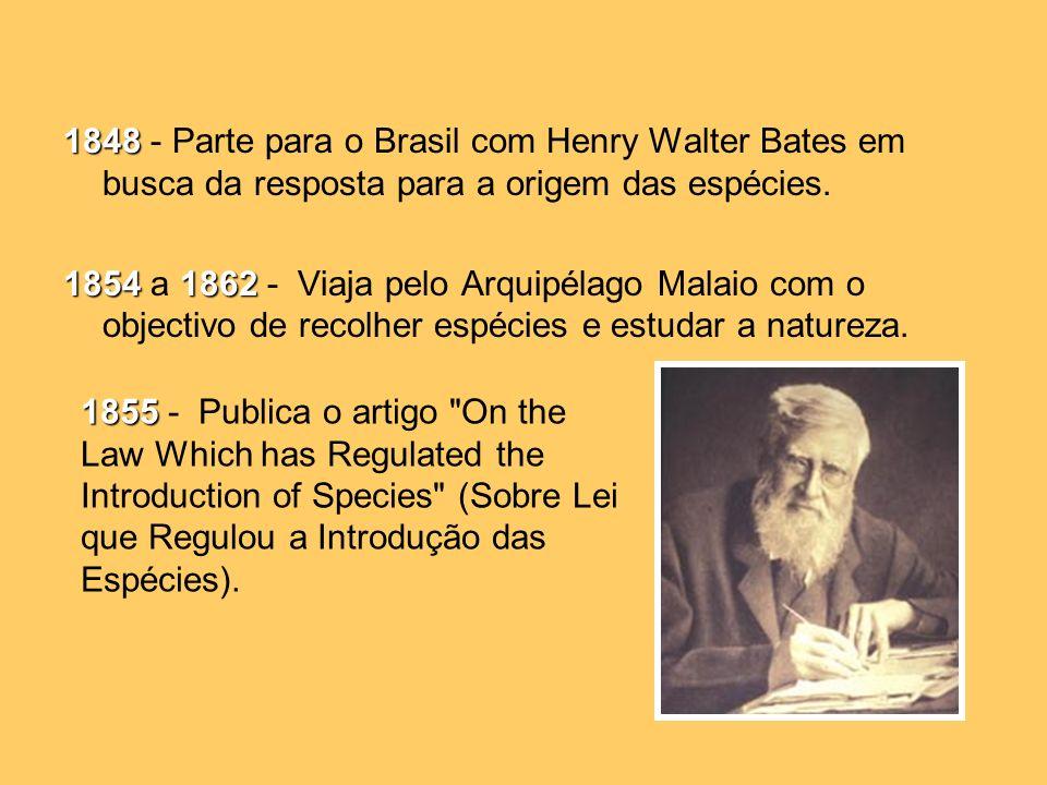 1848 1848 - Parte para o Brasil com Henry Walter Bates em busca da resposta para a origem das espécies.