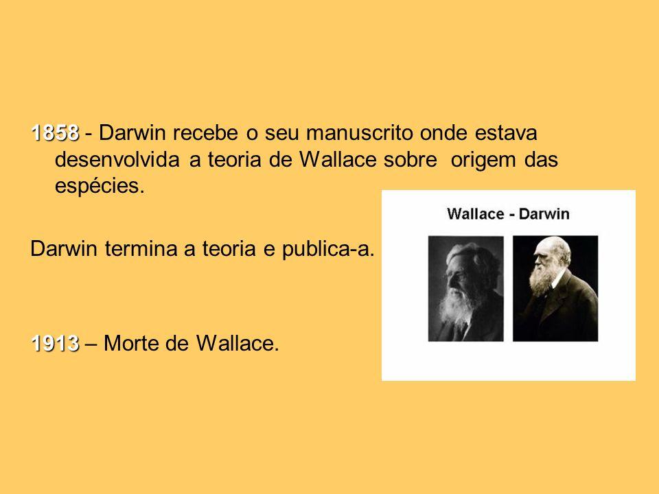 1858 1858 - Darwin recebe o seu manuscrito onde estava desenvolvida a teoria de Wallace sobre origem das espécies.