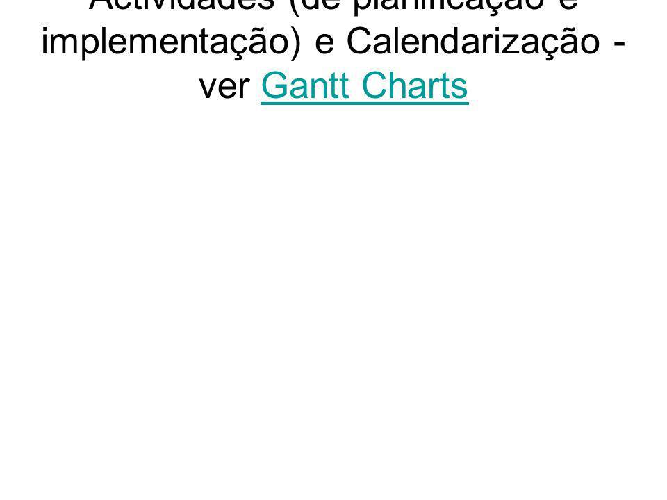 Actividades (de planificação e implementação) e Calendarização - ver Gantt ChartsGantt Charts