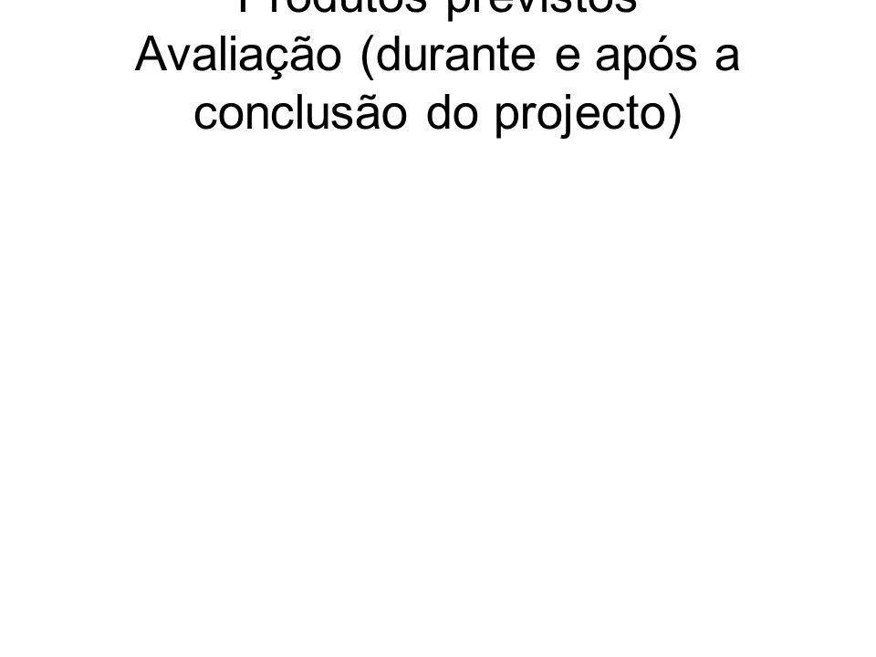 Produtos previstos Avaliação (durante e após a conclusão do projecto)
