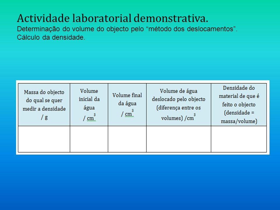 Actividade laboratorial demonstrativa. Determinação do volume do objecto pelo método dos deslocamentos. Cálculo da densidade.