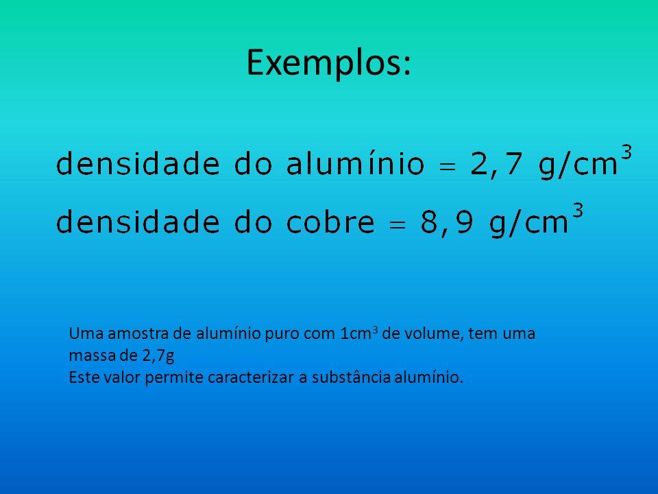 Exemplos: Uma amostra de alumínio puro com 1cm 3 de volume, tem uma massa de 2,7g Este valor permite caracterizar a substância alumínio.