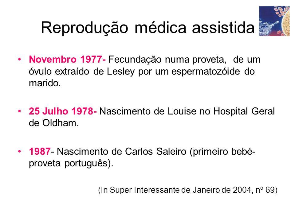 Reprodução médica assistida Novembro 1977- Fecundação numa proveta, de um óvulo extraído de Lesley por um espermatozóide do marido. 25 Julho 1978- Nas