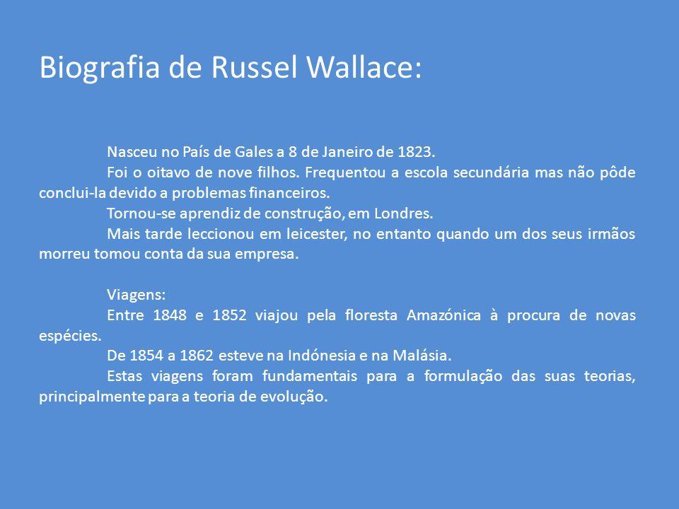 Biografia de Russel Wallace: Nasceu no País de Gales a 8 de Janeiro de 1823. Foi o oitavo de nove filhos. Frequentou a escola secundária mas não pôde