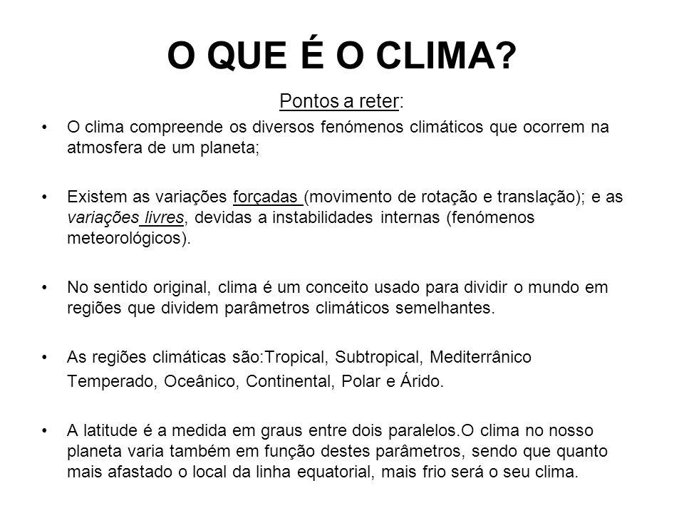 O QUE É O CLIMA? Pontos a reter: O clima compreende os diversos fenómenos climáticos que ocorrem na atmosfera de um planeta; Existem as variações forç