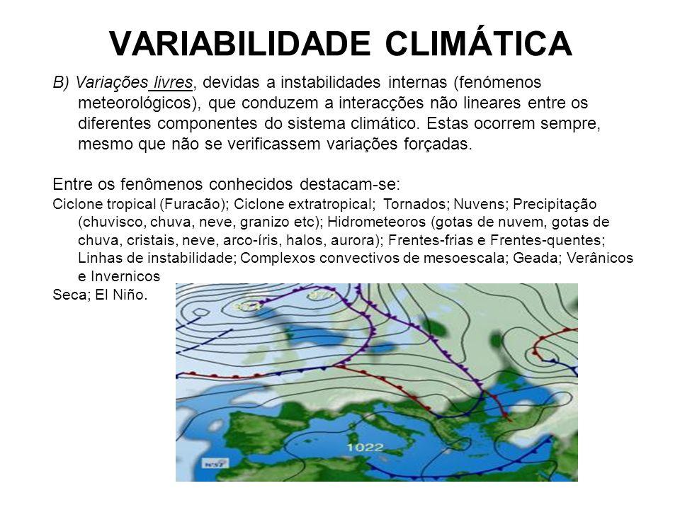 VARIABILIDADE CLIMÁTICA B) Variações livres, devidas a instabilidades internas (fenómenos meteorológicos), que conduzem a interacções não lineares ent