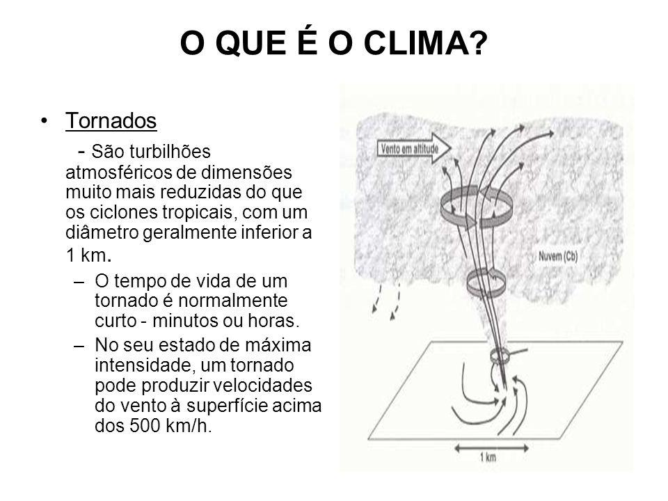 O QUE É O CLIMA? Tornados - São turbilhões atmosféricos de dimensões muito mais reduzidas do que os ciclones tropicais, com um diâmetro geralmente inf