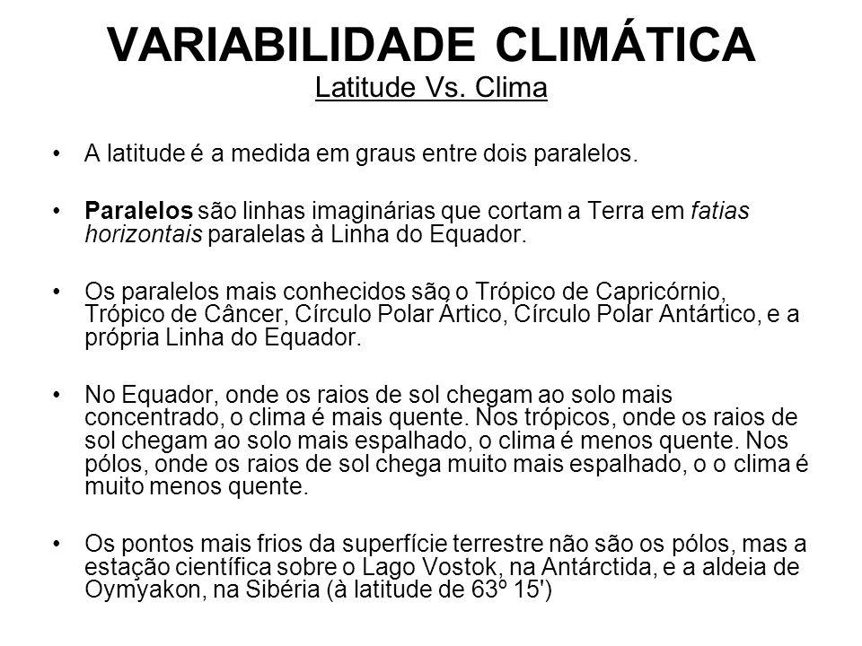 VARIABILIDADE CLIMÁTICA Latitude Vs. Clima A latitude é a medida em graus entre dois paralelos. Paralelos são linhas imaginárias que cortam a Terra em