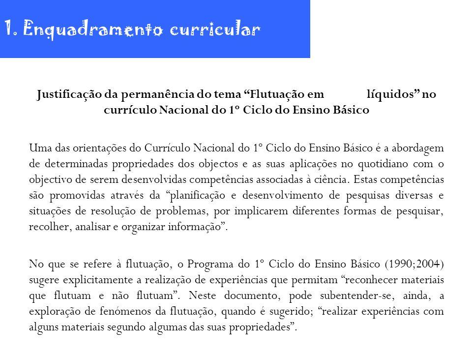 Justificação da permanência do tema Flutuação em líquidos no currículo Nacional do 1º Ciclo do Ensino Básico Uma das orientações do Currículo Nacional