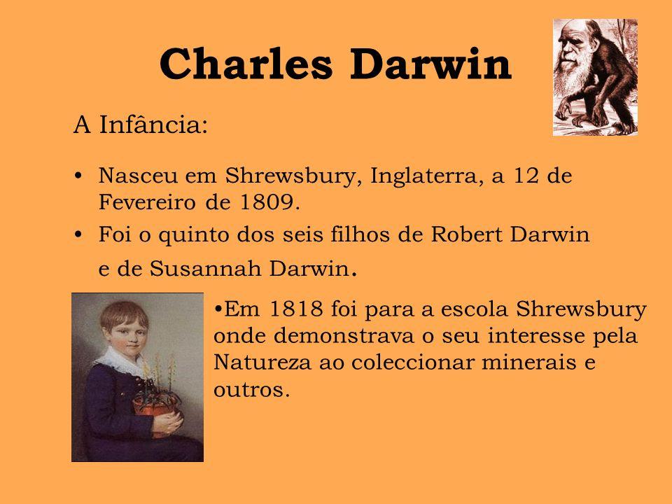 Charles Darwin Nasceu em Shrewsbury, Inglaterra, a 12 de Fevereiro de 1809. Foi o quinto dos seis filhos de Robert Darwin e de Susannah Darwin. A Infâ