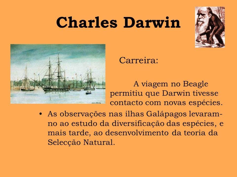Charles Darwin A viagem no Beagle permitiu que Darwin tivesse contacto com novas espécies. As observações nas ilhas Galápagos levaram- no ao estudo da