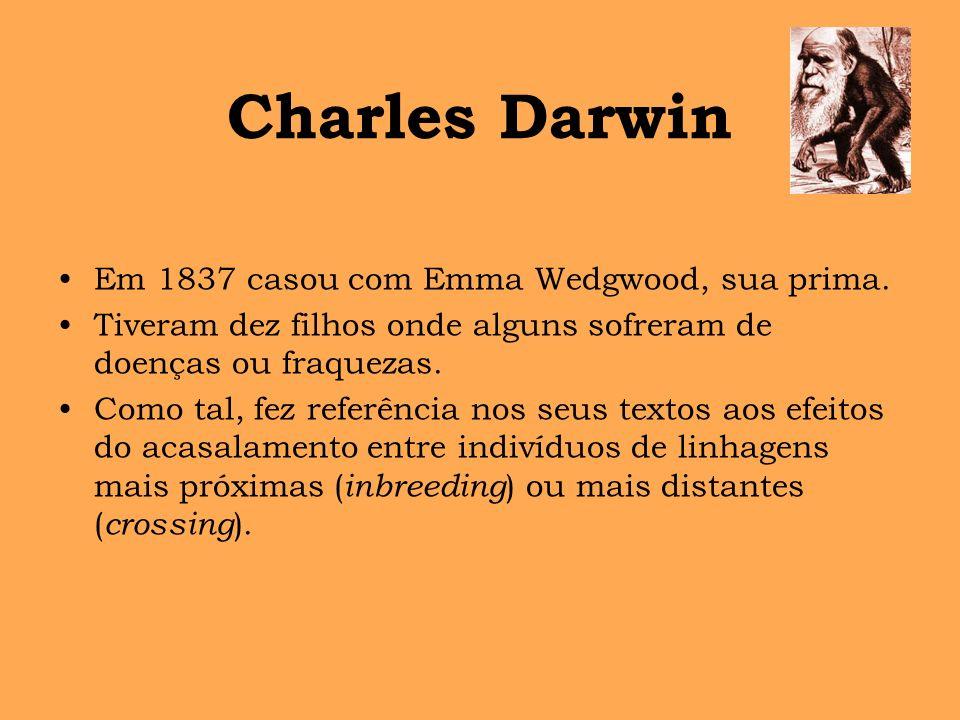 Charles Darwin Em 1837 casou com Emma Wedgwood, sua prima. Tiveram dez filhos onde alguns sofreram de doenças ou fraquezas. Como tal, fez referência n
