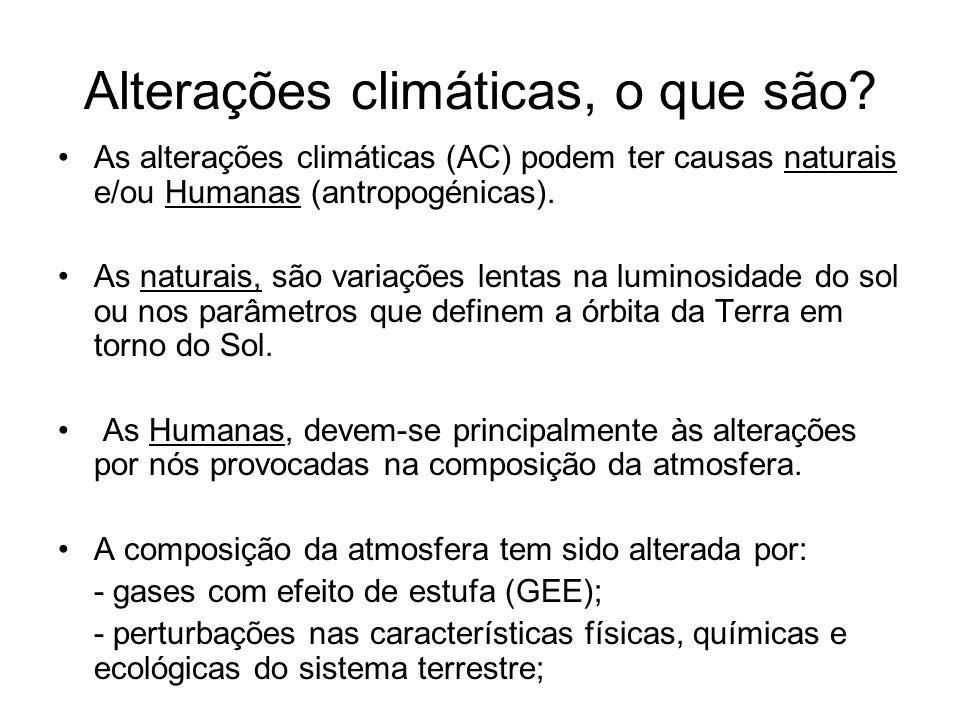 Alterações climáticas, o que são? As alterações climáticas (AC) podem ter causas naturais e/ou Humanas (antropogénicas). As naturais, são variações le