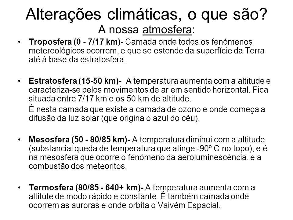 Alterações climáticas, o que são? A nossa atmosfera: Troposfera (0 - 7/17 km)- Camada onde todos os fenómenos metereológicos ocorrem, e que se estende