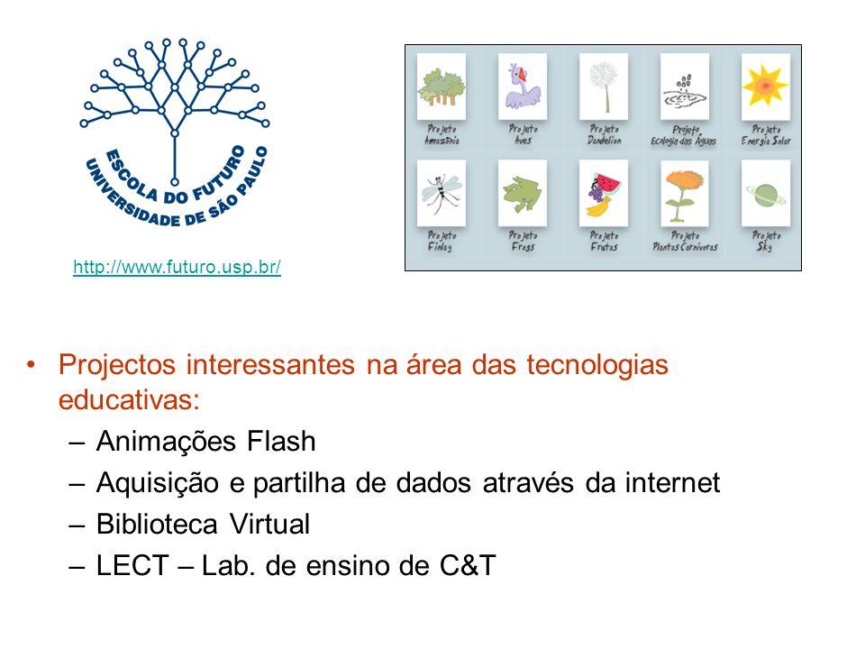 Projectos interessantes na área das tecnologias educativas: –Animações Flash –Aquisição e partilha de dados através da internet –Biblioteca Virtual –LECT – Lab.