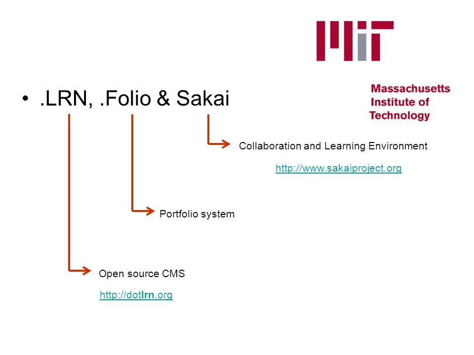 .LRN,.Folio & Sakai http://dotlrn.org Open source CMS Portfolio system Collaboration and Learning Environment http://www.sakaiproject.org