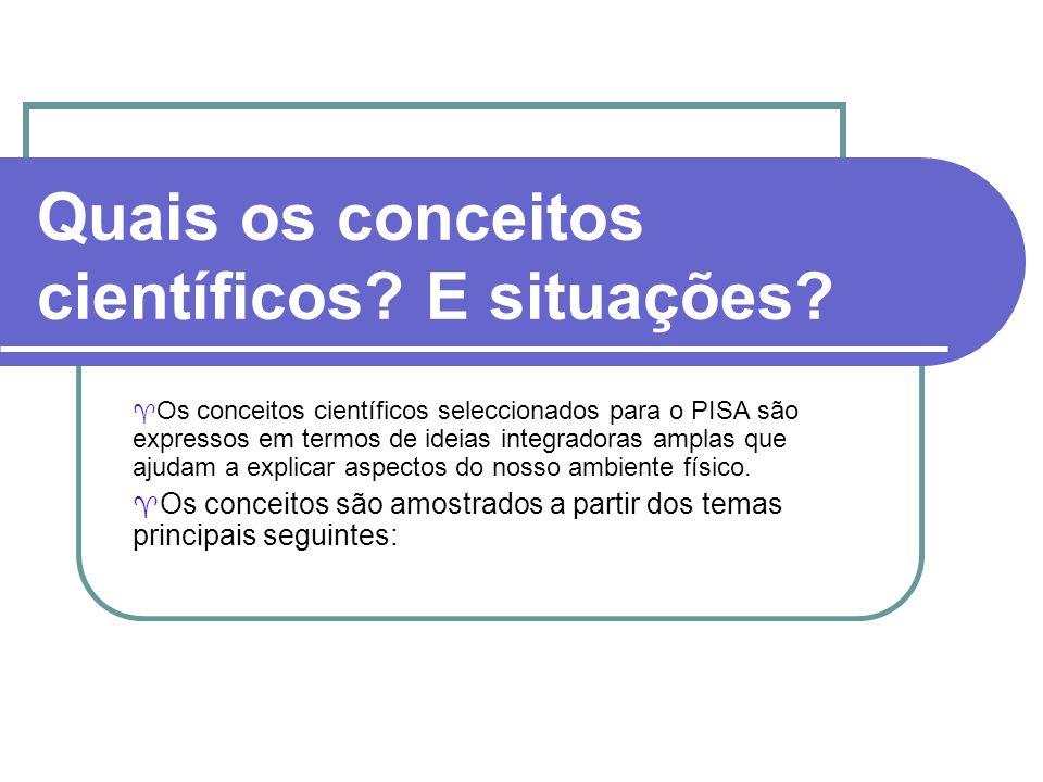 Quais os conceitos científicos? E situações? Os conceitos científicos seleccionados para o PISA são expressos em termos de ideias integradoras amplas