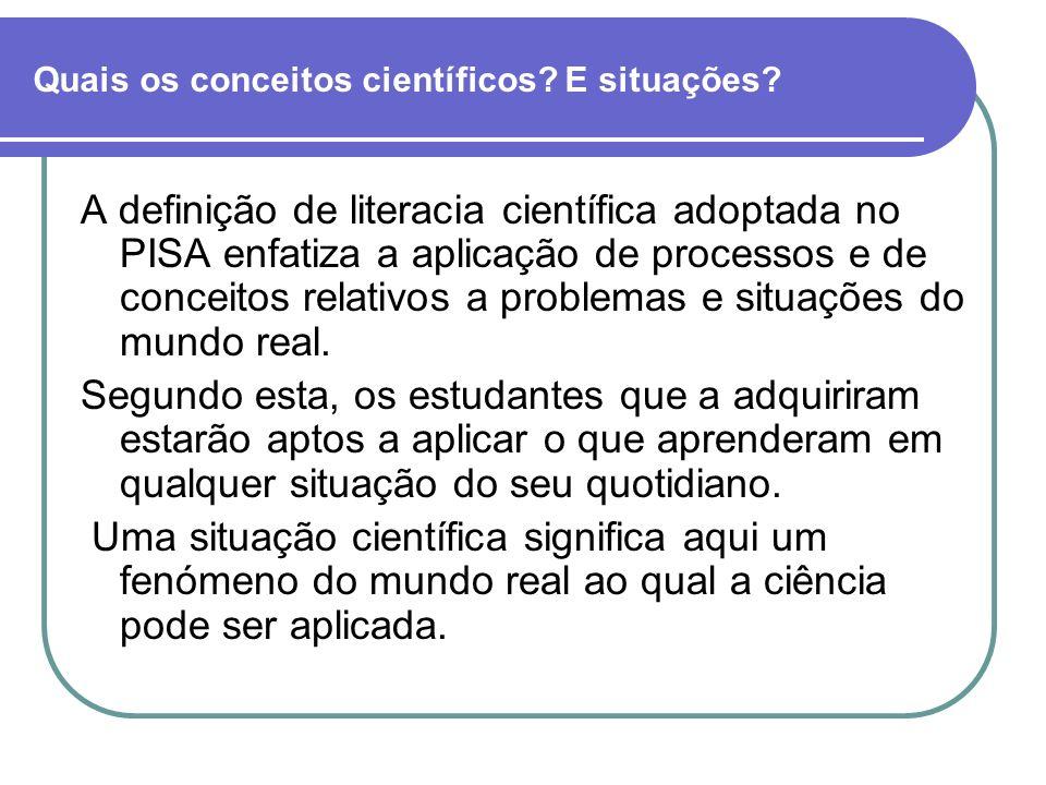 Quais os conceitos científicos? E situações? A definição de literacia científica adoptada no PISA enfatiza a aplicação de processos e de conceitos rel