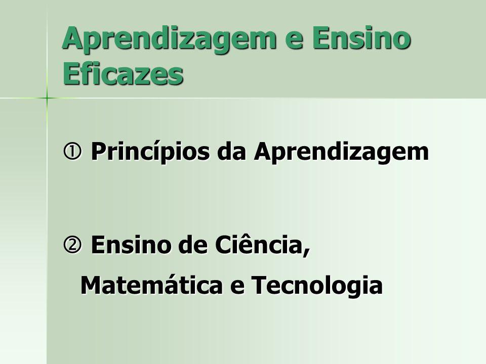 Aprendizagem e Ensino Eficazes Princípios da Aprendizagem Princípios da Aprendizagem Ensino de Ciência, Matemática e Tecnologia Ensino de Ciência, Matemática e Tecnologia