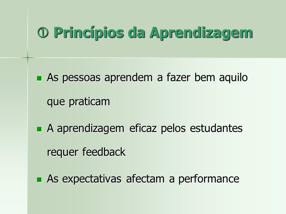 Princípios da Aprendizagem Princípios da Aprendizagem As pessoas aprendem a fazer bem aquilo que praticam As pessoas aprendem a fazer bem aquilo que praticam A aprendizagem eficaz pelos estudantes requer feedback A aprendizagem eficaz pelos estudantes requer feedback As expectativas afectam a performance As expectativas afectam a performance