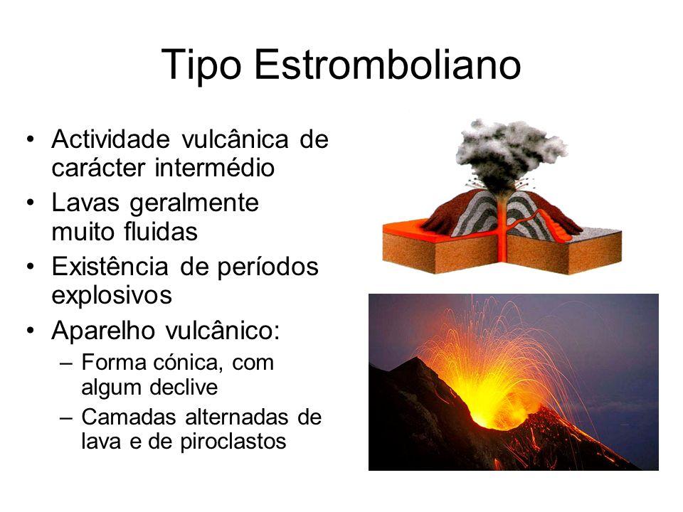Tipo Estromboliano Actividade vulcânica de carácter intermédio Lavas geralmente muito fluidas Existência de períodos explosivos Aparelho vulcânico: –F