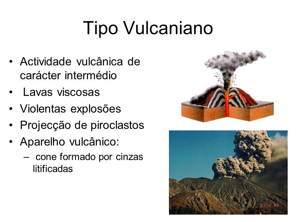 Tipo Vulcaniano Actividade vulcânica de carácter intermédio Lavas viscosas Violentas explosões Projecção de piroclastos Aparelho vulcânico: – cone for