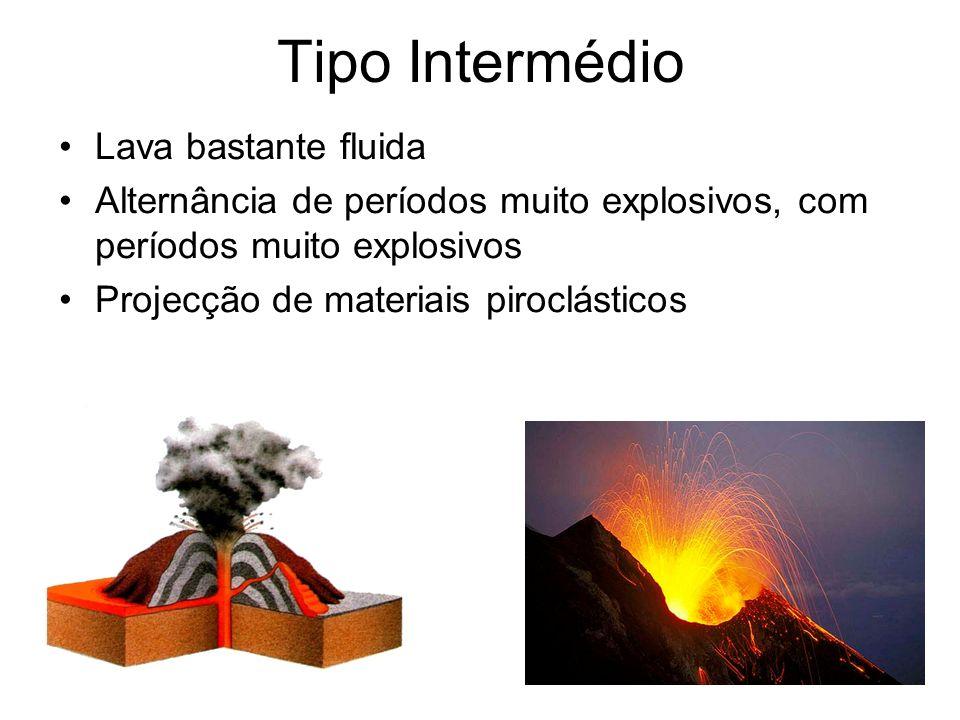 Tipo Intermédio Lava bastante fluida Alternância de períodos muito explosivos, com períodos muito explosivos Projecção de materiais piroclásticos