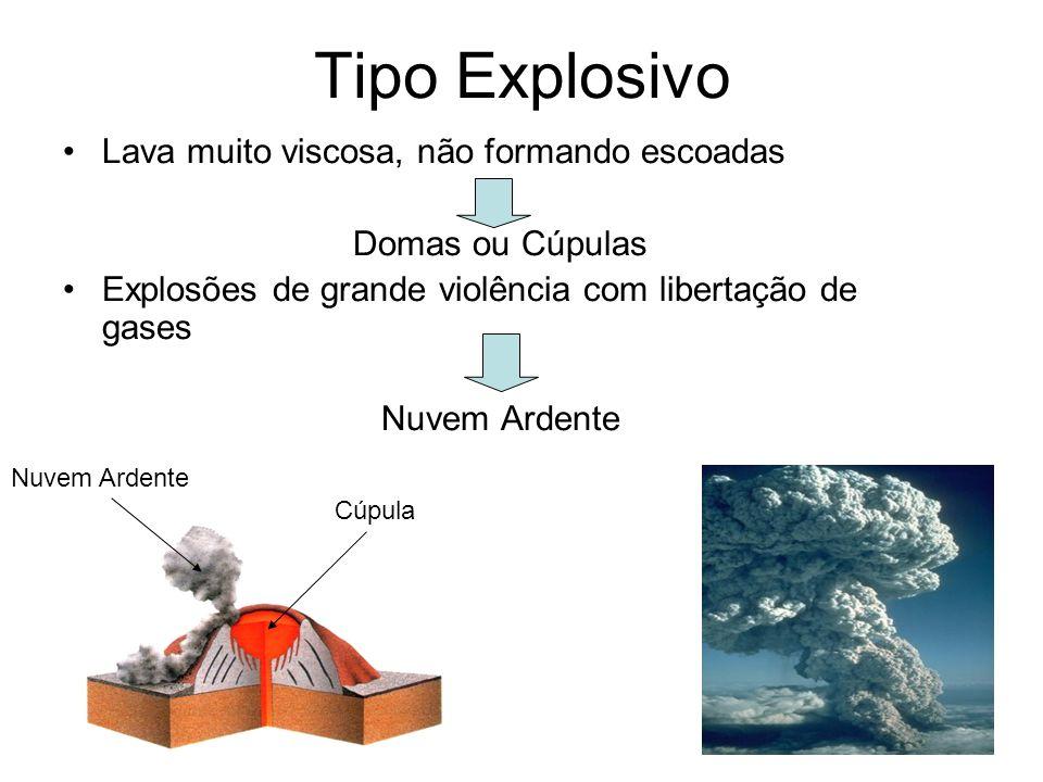 Tipo Explosivo Lava muito viscosa, não formando escoadas Domas ou Cúpulas Explosões de grande violência com libertação de gases Nuvem Ardente Cúpula N