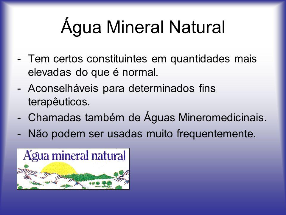 Água Mineral Natural -Tem certos constituintes em quantidades mais elevadas do que é normal. -Aconselháveis para determinados fins terapêuticos. -Cham