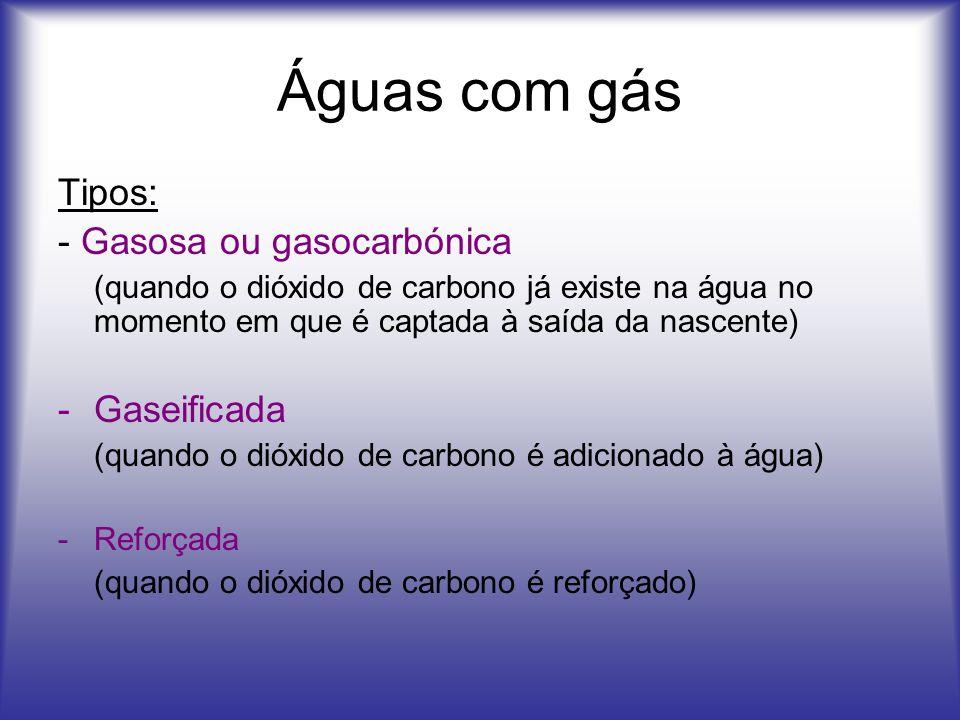 Águas com gás Tipos: - Gasosa ou gasocarbónica (quando o dióxido de carbono já existe na água no momento em que é captada à saída da nascente) -Gaseif