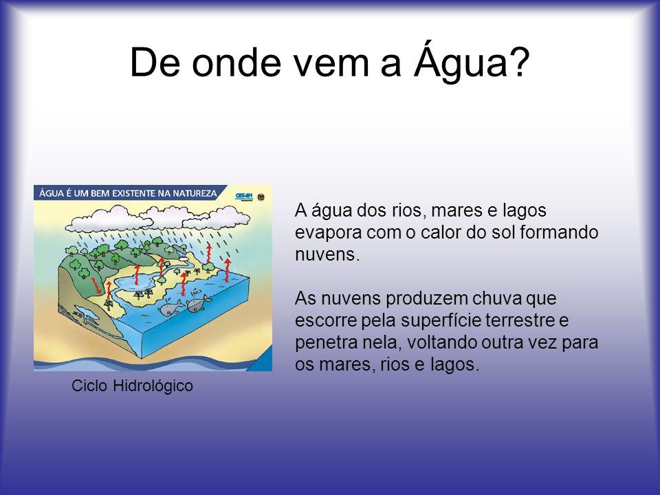 De onde vem a Água? Ciclo Hidrológico A água dos rios, mares e lagos evapora com o calor do sol formando nuvens. As nuvens produzem chuva que escorre