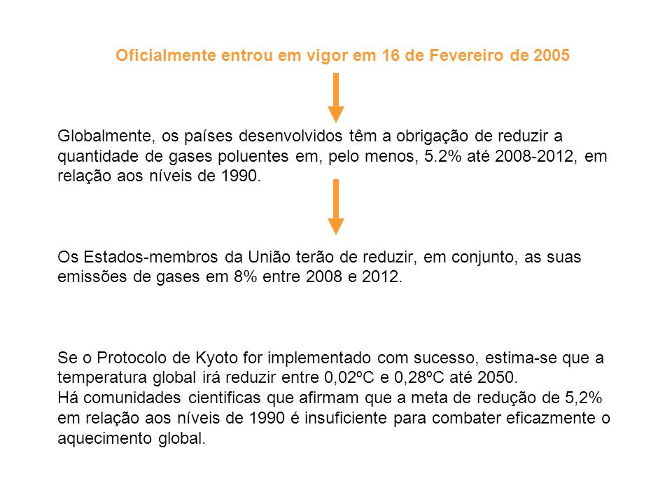 Oficialmente entrou em vigor em 16 de Fevereiro de 2005 Globalmente, os países desenvolvidos têm a obrigação de reduzir a quantidade de gases poluente