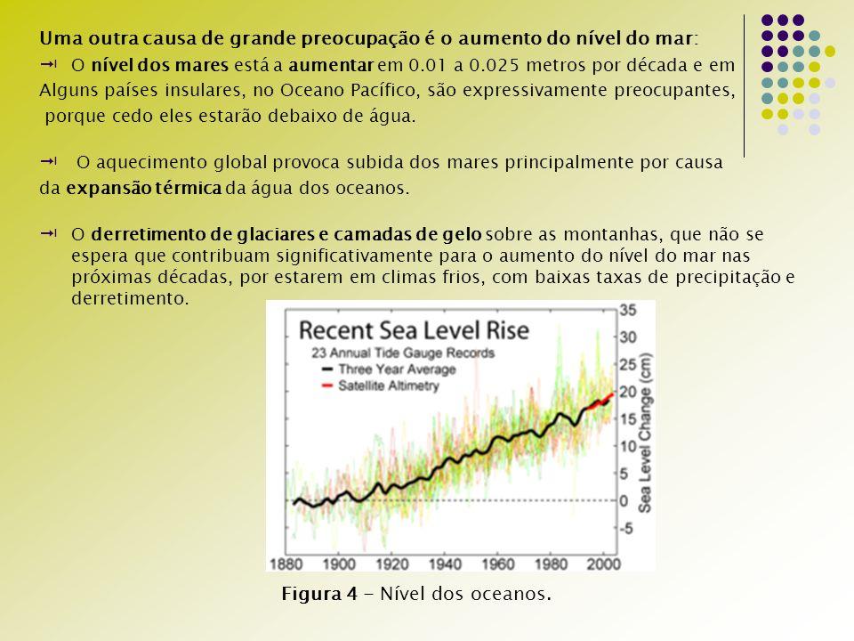 Uma outra causa de grande preocupação é o aumento do nível do mar: O nível dos mares está a aumentar em 0.01 a 0.025 metros por década e em Alguns países insulares, no Oceano Pacífico, são expressivamente preocupantes, porque cedo eles estarão debaixo de água.