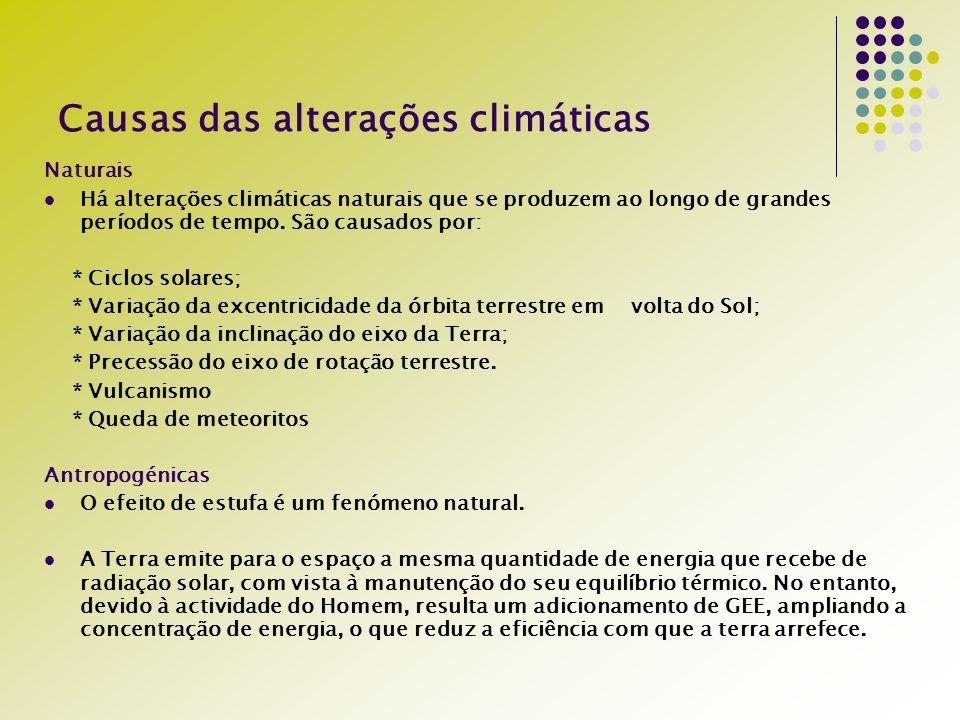 Causas das alterações climáticas Naturais Há alterações climáticas naturais que se produzem ao longo de grandes períodos de tempo.