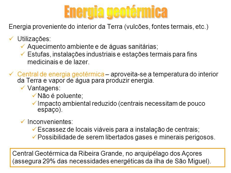 Energia proveniente do interior da Terra (vulcões, fontes termais, etc.) Utilizações: Aquecimento ambiente e de águas sanitárias; Estufas, instalações