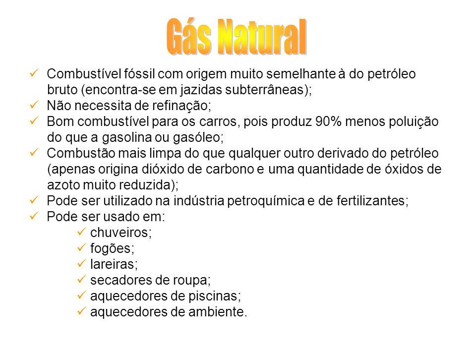 Combustível fóssil com origem muito semelhante à do petróleo bruto (encontra-se em jazidas subterrâneas); Não necessita de refinação; Bom combustível