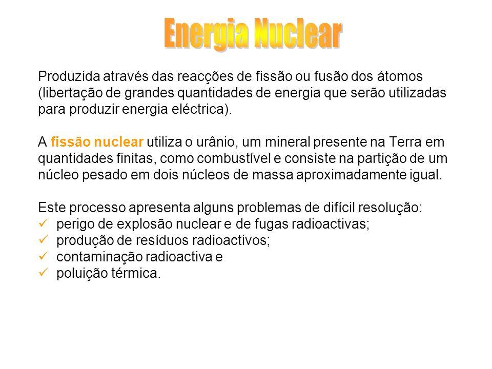 Produzida através das reacções de fissão ou fusão dos átomos (libertação de grandes quantidades de energia que serão utilizadas para produzir energia