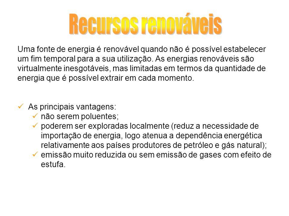 Uma fonte de energia é renovável quando não é possível estabelecer um fim temporal para a sua utilização. As energias renováveis são virtualmente ines