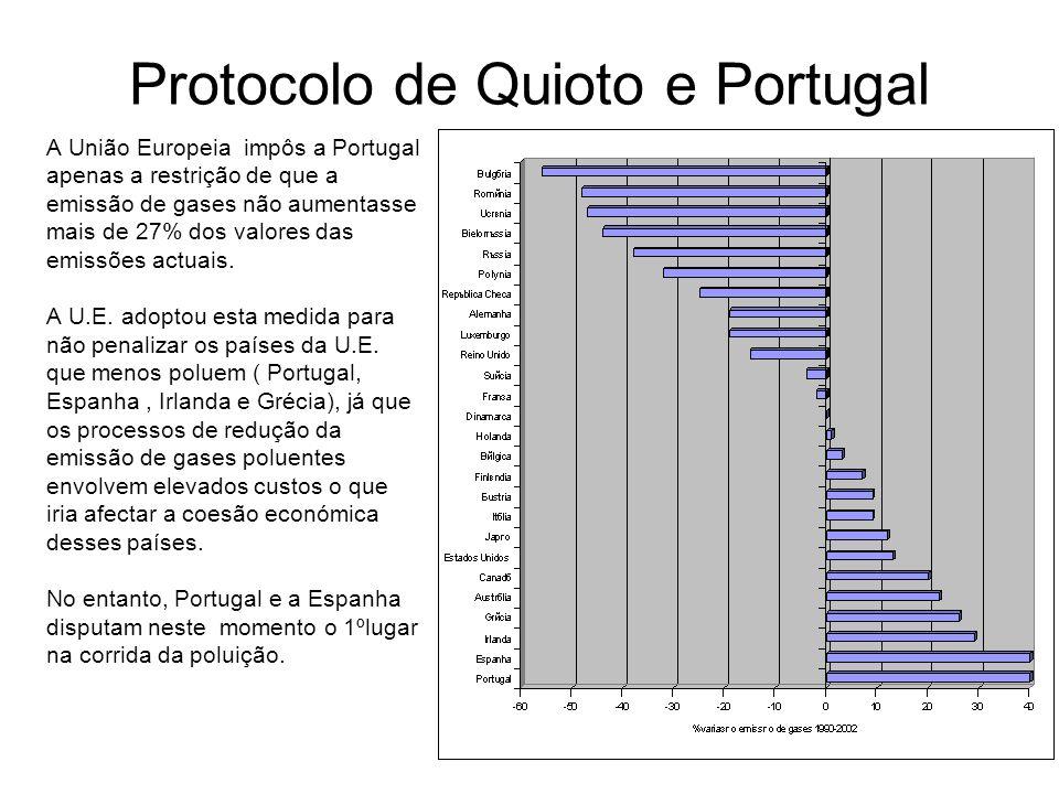 Como se pode inferir da análise do gráfico que se segue,estes dois países, entre 1990 e 2002 aumentaram em 40% as suas emissões de GEEs .