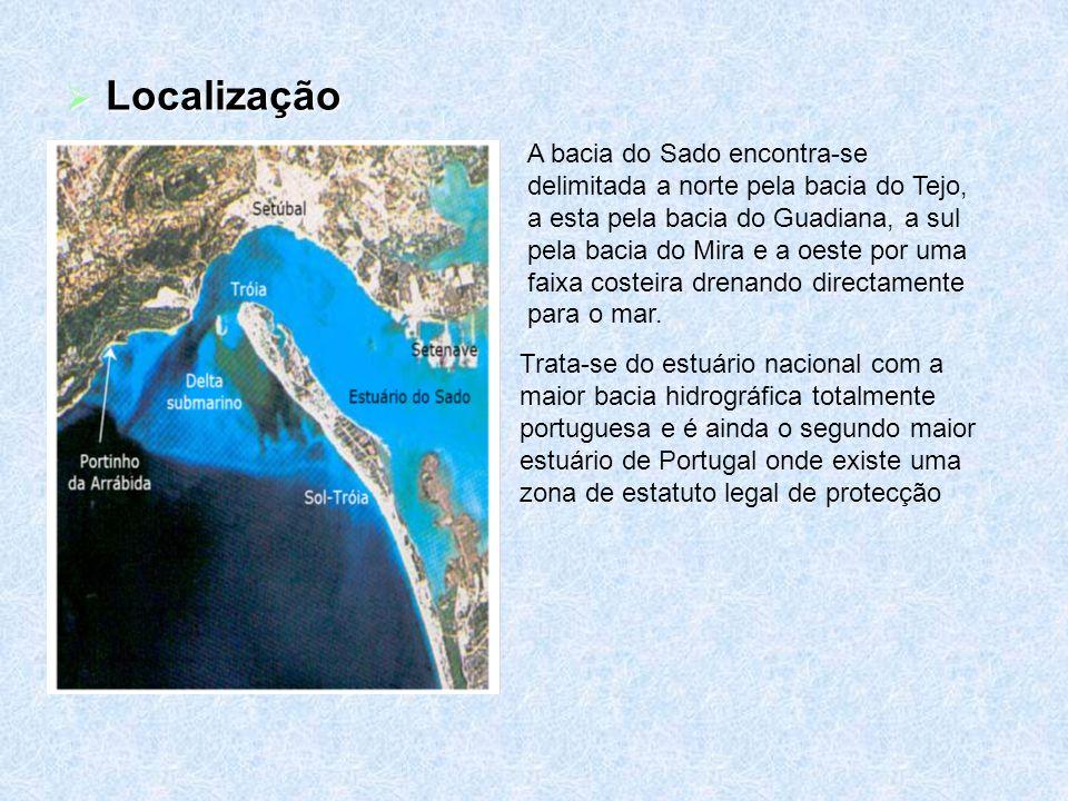 Características Gerais A Sul da Península de Setúbal, o Estuário do Sado prolonga os seus braços por uma paisagem muito diversificada onde se encontra