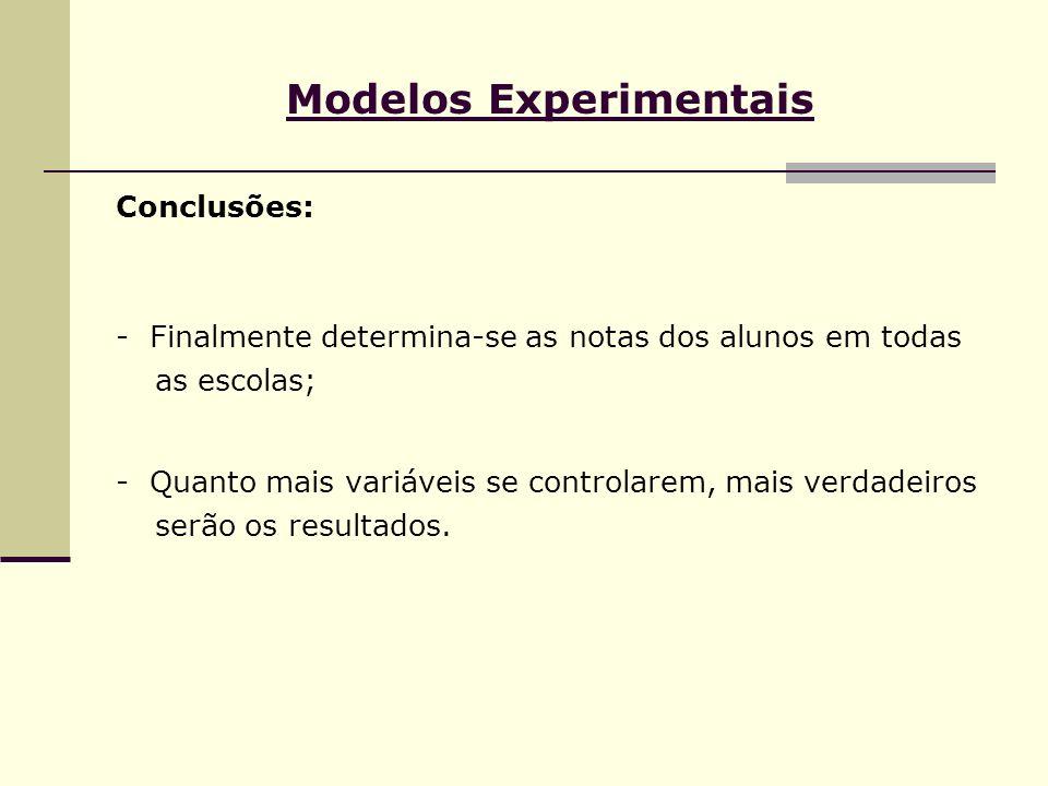 Modelos Experimentais Conclusões: - Finalmente determina-se as notas dos alunos em todas as escolas; - Quanto mais variáveis se controlarem, mais verd